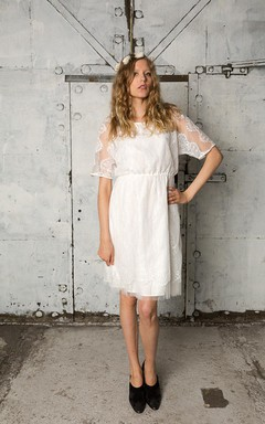 Short Jewel Neck Pleated Lace and Tulle Dress With Three-Quarter Sleeves