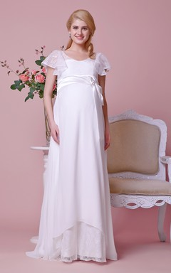 Cap-sleeved Scoop Neck A-line Chiffon Gown With Lace Bodice