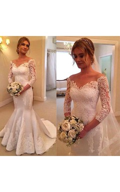 Off-the-shoulder Pleated Mermaid Lace Gown With Long Sleeves