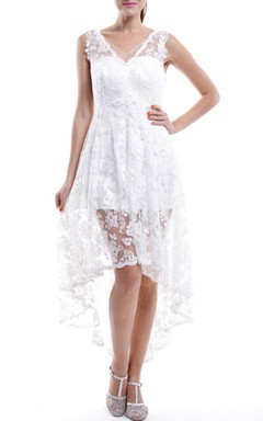 Short White V-neck Lace Dress With Low-V Back