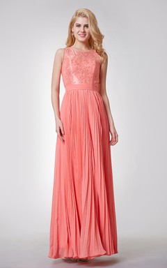 Lace Neckline A-line Long Pleated Chiffon Dress