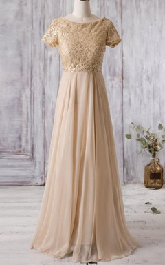 Golden Short Sleeve Illusion MOB Gown