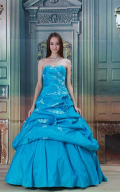 sweetheart a-line ball pick-up gown with flower and appliques