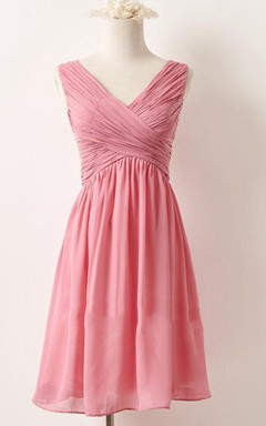 Short V-neck Chiffon Dress
