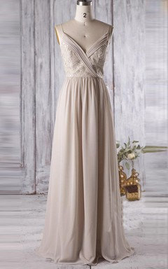 Floor-length Spaghetti Strapped V-neck Chiffon&Lace Dress With Low-V Back