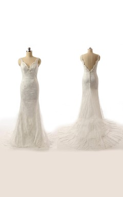 V-Neck And Low V-Back Lace Wedding Dress With Appliques