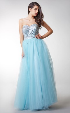 Chic Strapless Beaded Bodice With Full Tulle Skirt