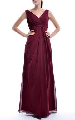 Empire V-neck Empire Chiffon Dress