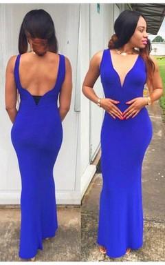 Modern V-neck Royal Blue Mermaid Prom Dress Sleeveless Open Back