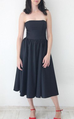 Knee-length Tea-length Strapped Dress With Zipper