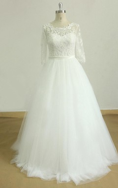 A-Line Tulle Lace Satin Weddig Dress