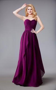Sweetheart Chiffon Long Bridesmaid Dress With Layered Skirt