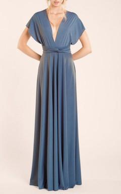 V-neck Bat-wings Sleeve Long Jersey Dress