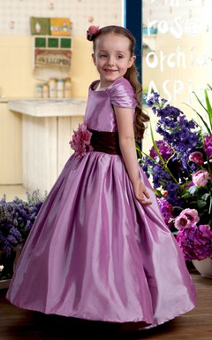 Caped-Sleeve Satin Flower Girl Dress With Flower and Ruched Waist