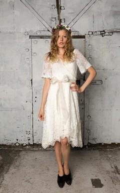 Boho Knee-Length Lace Wrap Wedding Dress With Bow Sash