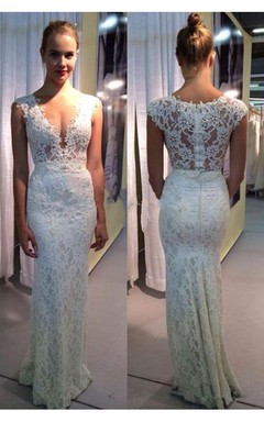 Elegant Lace Sleeveless 2016 Wedding Dress Zipper Back Floor Length