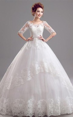 Gorgeous Off-the-Shoulder Half Sleeve Wedding Dresses Lace Appliques Tulle