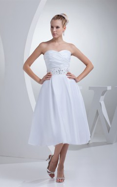 Sweetheart Tea-Length A-Line Dress with Ruching and Jeweled Waist