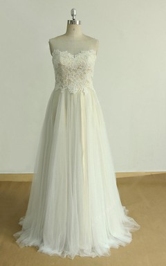 Tulle Lace Satin Weddig Dress With Illusion
