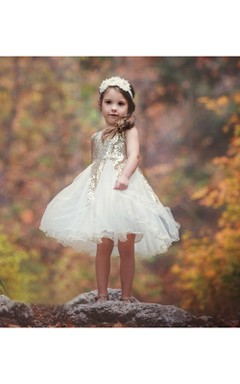 Rustic Sleeveless Scoop Neck Ruffled Gold Sequin Bodice Flower Girl Dress