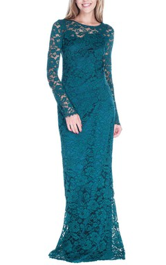 Illusion Long Sleeve Lace Formal Dress