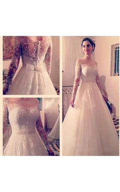 Exquisite Off-the-shoulder A-line Tulle Gown With Beaded Lace Long Sleeves