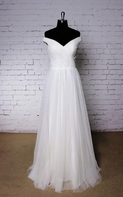 Plain Off-Shoulder Tulle Wedding Dress With Ruching and Pleats