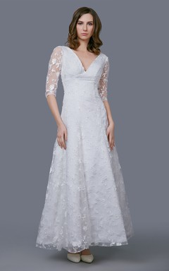 stunning v neckline tea length gown with illusion sleeve and embroidery