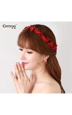 Bride'S Headdress Hair Dresses Cheongsam Red Headdress Korean Wedding Ornaments Head Flower Hairpin