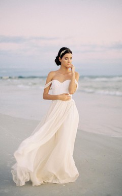 Romantic Off the Shoulder Ivory Silk Chiffon Wedding Dress With Lace Bodice