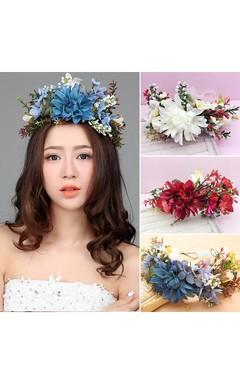 Sen Female Headdress Flower Wreath Wedding Jewelry Bride Korean Style Flower Sea Hair Ornaments Hoop
