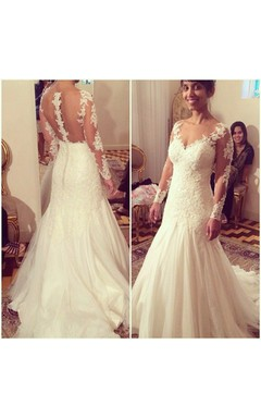 Lace Long Sleeve Deep-v Neckline Mermaid Tulle Dress With Sheer Back