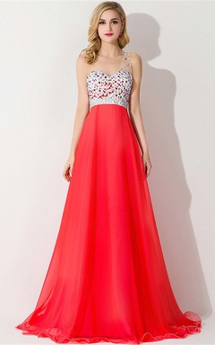 Sexy One Shoulder Crystal Prom Dress Floor Length