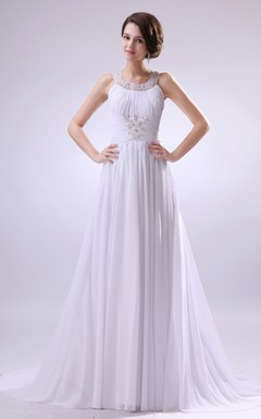 Draping Sleeveless Dress With Zipper Back And Crystal Detailing
