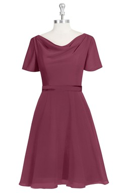 Short Sleeve A-Line Chiffon Dress With Cowl Neck and Satin Waistband