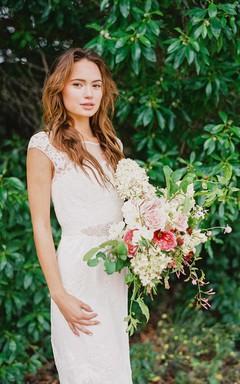 Boat Neck Cap Sleeve Short Sheath Lace Wedding Dress With Beading