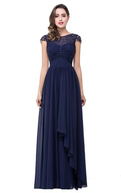Elegant Chiffon Lace A-line 2016 Prom Dress Bowknot Cap Sleeve