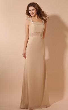 Chiffon Elegant Maxi Dress With Ruching Waist And Cape