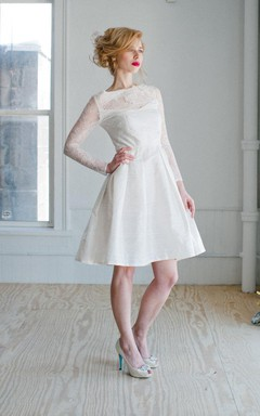 Bateau Long Illusion Sleeve A-Line Knee-Length Taffeta Wedding Dress