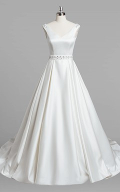 V-Neck Criss-Crossed Sleeveless A-Line Organza Wedding Dress With Beading