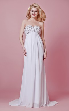 Chic Empire Waist Chiffon Gown With Beaded Bodice