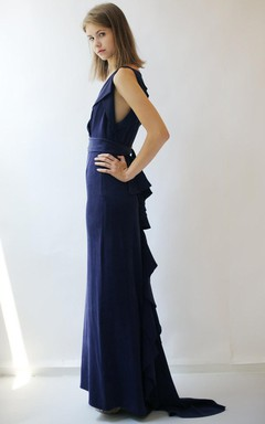 Long Deep Purple Silk Crepe Gown Dress