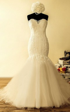 Mermaid Strapped Tulle Lace Satin Dress With Beading Appliques