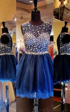 A-Line Princess Scoop Sleeveless Rhinestone Short Mini Tulle Dresses