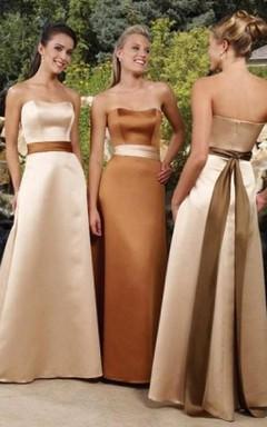 A-line Sweetheart Floor-length Sleeveless Satin Bridesmaid Dresses