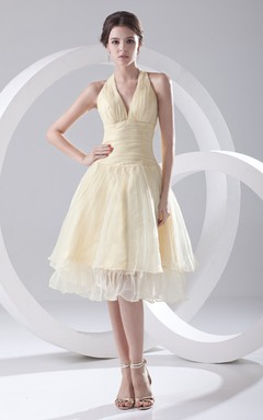 Captivating Organza Dress With Zipper Back And Draping