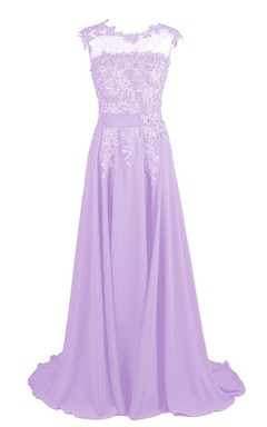 Illusion Neckline A-line Gown With Beaded Lace Appliques