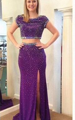 Stunning Two Piece Beadings Front Split Prom Dress 2016 Short Sleeve Sweep Train