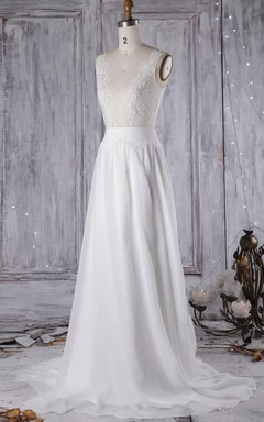 A-Line Ball Gown Floor-Length Chiffon Lace Dress With Beading Low-V Back