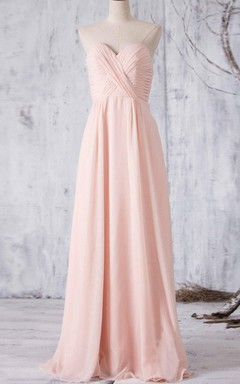 Floor-length Chiffon Dress With Pleats